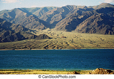 montanhas, óleo,  stylization,  -, lago, pintura, Asiático, paisagem