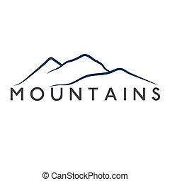montanhas, abstratos, ilustração