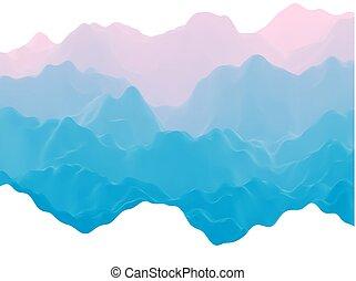 montanhas, abstratos, planet., estrangeiro, paisagem, nebuloso, futurista, 3d
