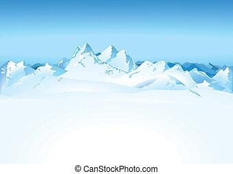 montanhas altas, em, a, neve