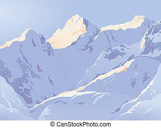 montanhas altas, em, inverno
