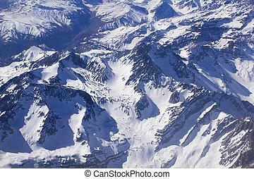 montanhas., andino, foto aérea