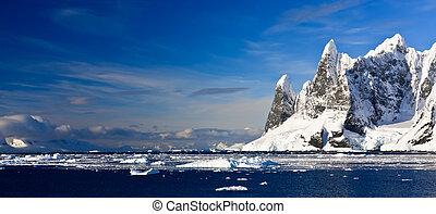 montanhas, antártica, neve-tampado