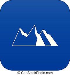 montanhas azuis, ícone, digital