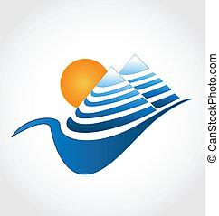 montanhas azuis, alinhado, logotipo, sol