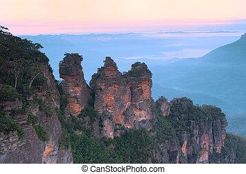 montanhas azuis, austrália, -, três irmãs