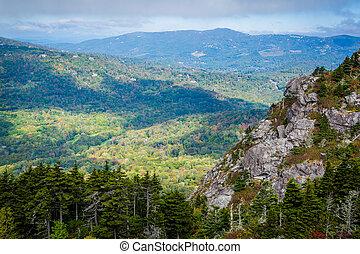 montanhas azuis, carolina., cume, avô, norte, montanha,...