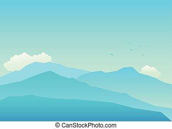montanhas azuis, cores, paisagem