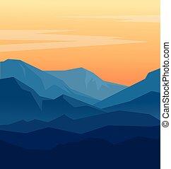 montanhas azuis, crepúsculo