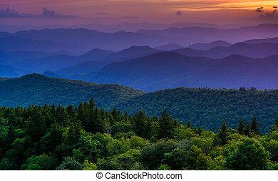 montanhas azuis, cume, negligenciar, pôr do sol, parkway,...