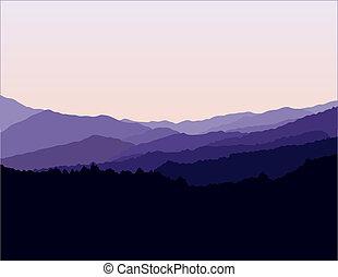 montanhas azuis, cume, paisagem