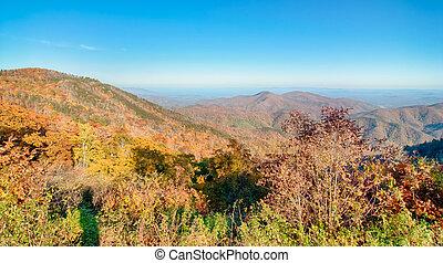 montanhas azuis, cume, panorâmico, parque nacional, parkway