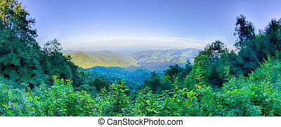 montanhas azuis, cume, verão, panorâmico, parque nacional, pôr do sol, parkway