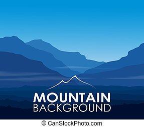 montanhas azuis, em, alvorada