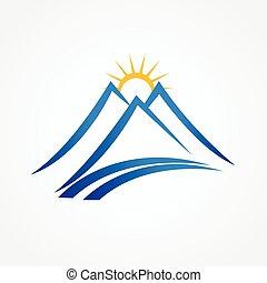 montanhas azuis, ensolarado, logotipo