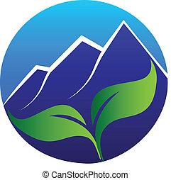 montanhas azuis, folheia, logotipo