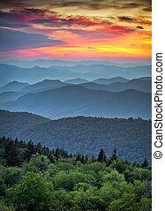 montanhas azuis, grande, cume, camadas, panorâmico, parque nacional, pôr do sol, cumes, appalachian, esfumaçado, parkway, sobre, paisagem
