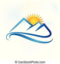 montanhas azuis, paisagem, logotipo