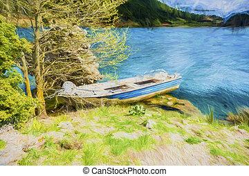 montanhas azuis, peixe, -, lago, efeito, quadro, bote