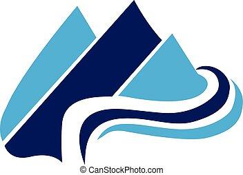 montanhas azuis, teia, vetorial, logotipo, ícone