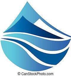 montanhas azuis, vetorial, ícone, logotipo