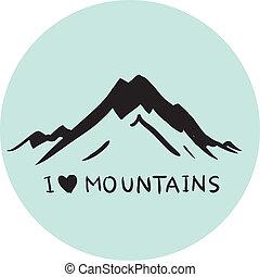 montanhas azuis, vetorial, ilustração
