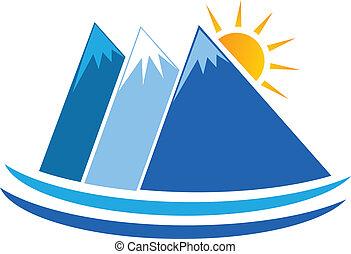 montanhas azuis, vetorial, logotipo