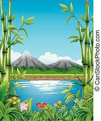 montanhas, bambu, paisagem, lago, árvores