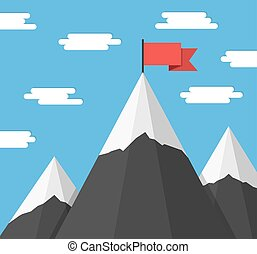 montanhas, bandeiras