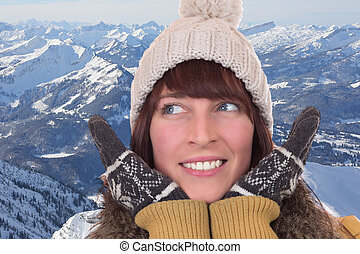 montanhas, boné, mulher, luvas, feliz