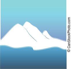 montanhas, branca, logotipo