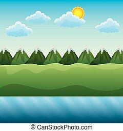 montanhas, campo céu, rio, dia, paisagem