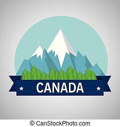 montanhas, canadense, cena, neve