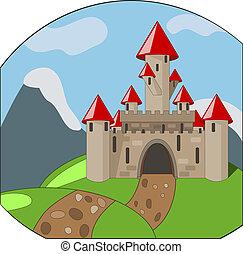 montanhas, caricatura, fundo, castleon