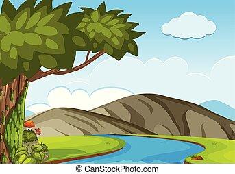 montanhas, cena, árvores, natureza