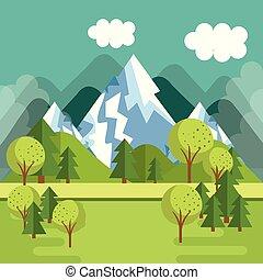 montanhas, cena, paisagem