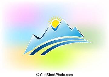 montanhas, coloridos, logotipo