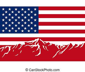 montanhas, com, bandeira, de, eua