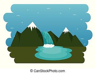 montanhas, com, neve, canadense, cena