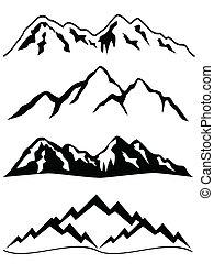 montanhas, com, neve