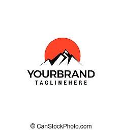 montanhas, conceito, viagem, criativo, desenho, modelo, logotipo, turismo, template.