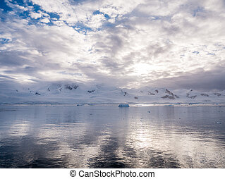 montanhas, continente, baía, franja, península, gelo, andvord, almirante, antártica, neve-tampado, arctowski