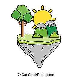 montanhas, cor, ilha, flutuador, árvore, sol