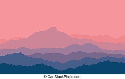 montanhas, crepúsculo