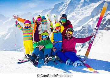 montanhas, crianças, família