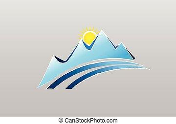 montanhas, desenho, logotipo