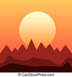 montanhas, desenho, paisagem