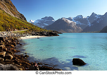 montanhas, e, fjord, em, noruega, -, lofoten