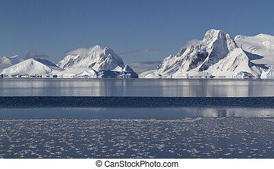 montanhas, e, ilhas, de, a, antárctico, península