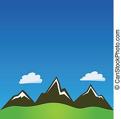 montanhas, e, nuvens, fundo